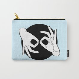 Sign Language (ASL) Interpreter – White on Black 03 Carry-All Pouch