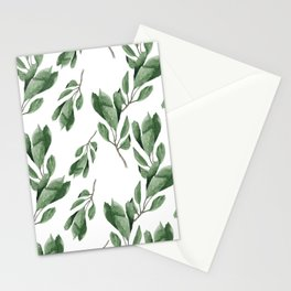Cherry green leaves pattern Stationery Cards