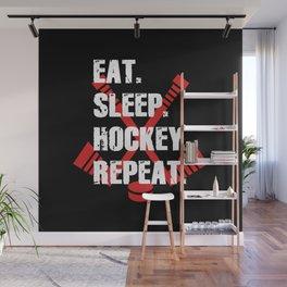 Eat Sleep Hockey Repeat Wall Mural
