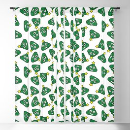 Christmas tree poo emoji ugly Christmas sweater design Blackout Curtain