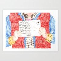 postcard Art Prints featuring Postcard by cristina zavala