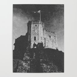 Cardiff Castle Keep Black and White-Wales Poster