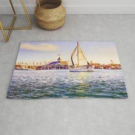 Sailboat at Newport Beach Watercolor Rug