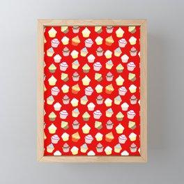 Dark Red Valentines Cup Cakes Framed Mini Art Print