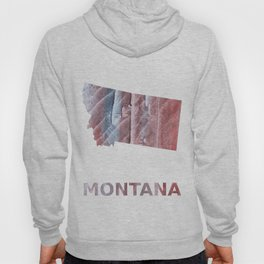 Montana map outline Red Gray Clouds watercolor Hoody