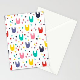 colorful rabbits Stationery Cards