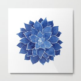 Indigo Succulent |  Watercolor Painting Metal Print
