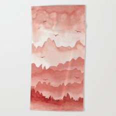 misty mountains - light red palette Beach Towel