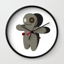 Voodoo doll. Cartoon horror elements. Spooky fear trick or treat Wall Clock