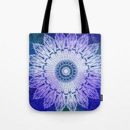 tie dye sunflower mandala in blues Tote Bag