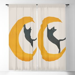Moon and Cat Blackout Curtain