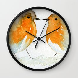 Robins in Love Wall Clock
