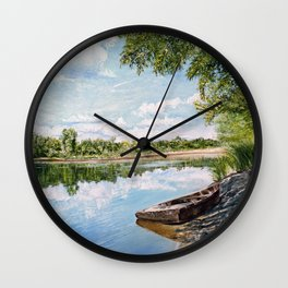 """Oil painting """"On the river"""" Wall Clock"""