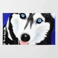 husky Area & Throw Rugs featuring Happy Husky by MrsKristenArtworks