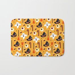 Happy halloween ghosts, brooms, eyeballs and witch hats pattern Bath Mat