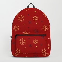 Red background with black and gold snowflake xmas pattern Backpack