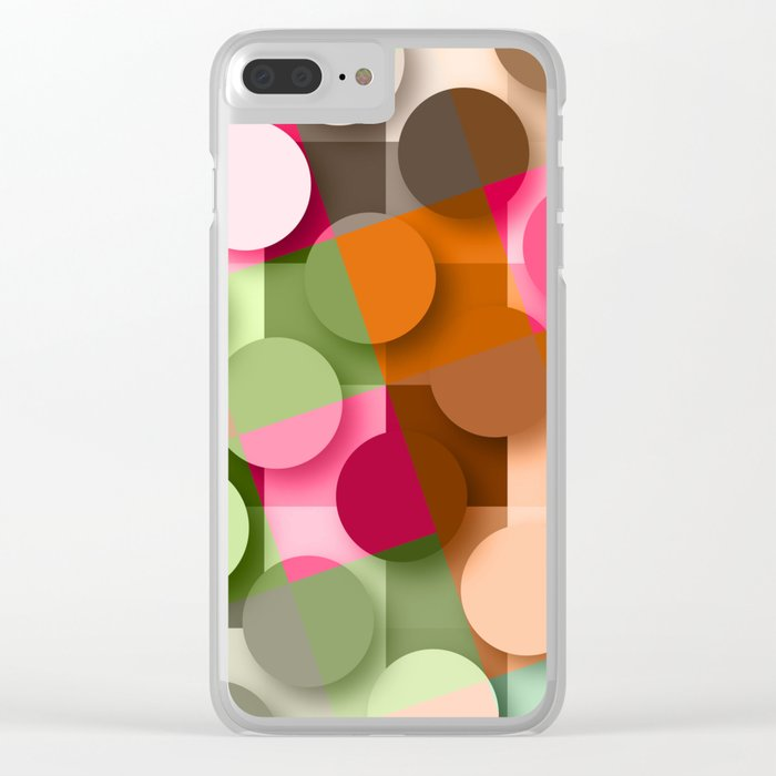dots & squares Clear iPhone Case