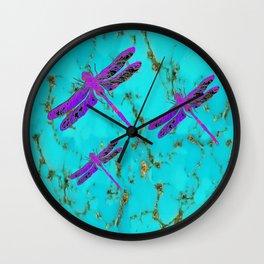 Purple Dragonflies Turquoise Gemstone Design Wall Clock