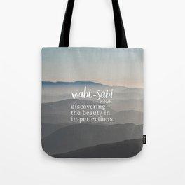 Wabi Sabi Word Nerd Definition - Mountains Tote Bag