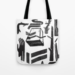 white-black Tote Bag