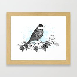 Bird and cherry blossoms Framed Art Print