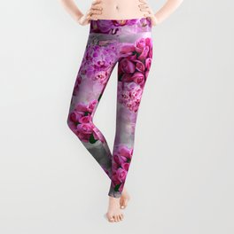 ORCHIDS ROSES AND MAGNOLIAS PINK Leggings