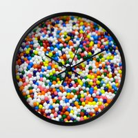 sprinkles Wall Clocks featuring Sprinkles by Electric Avenue