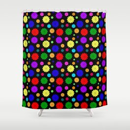 Black background with bright colors. Bright background for fabric or paper design of flowers Shower Curtain