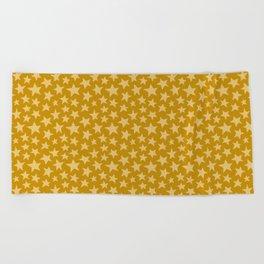 Mustard Doodle Stars Beach Towel