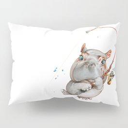 A hippopotamus fishing Pillow Sham