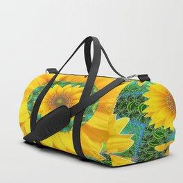 BOHEMIAN YELLOW FLORAL & BUTTERFLIES GREEN PATTERN ART Duffle Bag