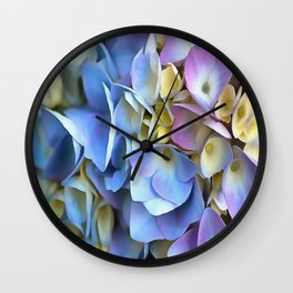Blue and Pink Hydrangea Flowers  Wall Clock