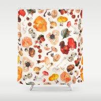 mushrooms Shower Curtains featuring Mushrooms by juli puli