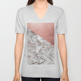 Stylish elegant white faux rose gold modern marble Unisex V-Neck