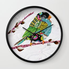 Cafe Swirly Bird. Candy Colored Edition Wall Clock