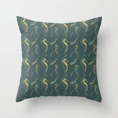 Happy Hippocampus Teal Throw Pillow