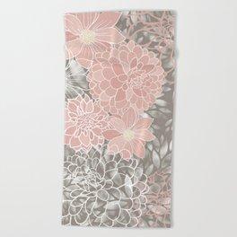 Floral Pattern Dahlias, Blush Pink, Gray, White Beach Towel