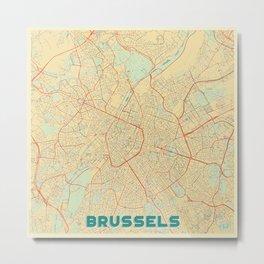 Brussels Map Retro Metal Print