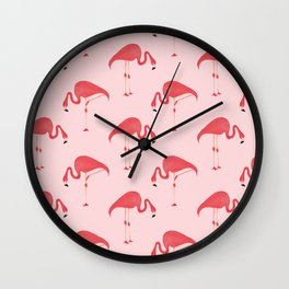 Flamingo Watercolor Pattern Wall Clock