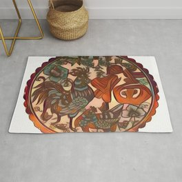 Chinese New Year Rooster Greetings Rug