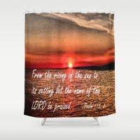 bible verse Shower Curtains featuring Bible Scripture Psalm 113:3 by Saribelle Inspirational Art