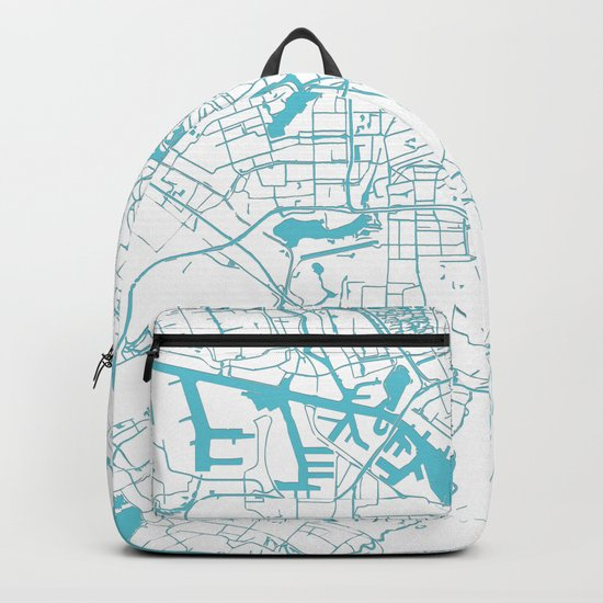 Amsterdam White on Turquoise Street Map Backpack