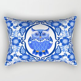Delft Blue and White Owls and Flowers Rectangular Pillow