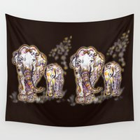 ganesh Wall Tapestries featuring Elephant Mom by Harsh Malik