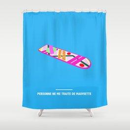 PERSONNE NE ME TRAITE DE MAUVIETTE ( Back to the Future ) Shower Curtain