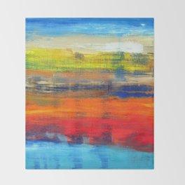 Horizon Blue Orange Red Abstract Art Throw Blanket