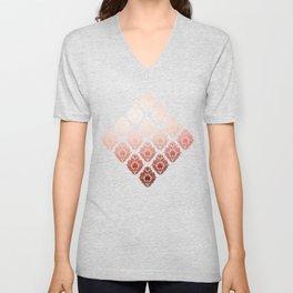 """Millennial Pink Damask Pattern"" Unisex V-Neck"