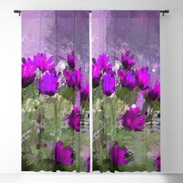 African Daisies With Wall Indigo Watercolor Blackout Curtain