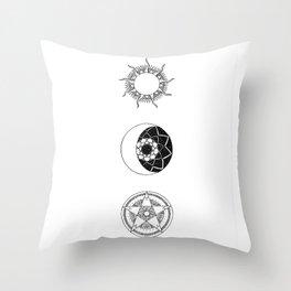 Sun, Moon and Star Mandalas Throw Pillow