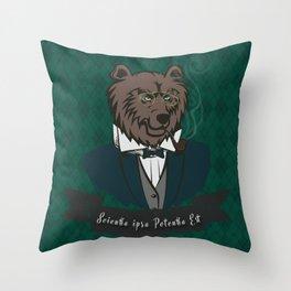 Clever Bear Throw Pillow